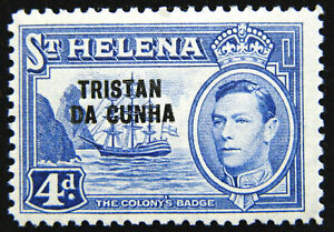 Tristan da Cunha Stamp 1952 4d King George VI Scott # 6 SG6 MINT OG H