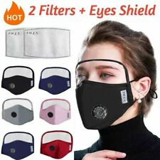Windproof Cotton Outdoor Face Mask Mouth Cover with Eyes Shield+2 Filters