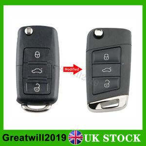 Upgrade Flip Key Fob Shell 3 Button For Volkswagen VW Golf 7 Beetle Caddy Jetta