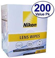 200 Nikon Pre-Moistened Lens Cloths Wipes Cleans Eyeglasses Phone Camera Lenses