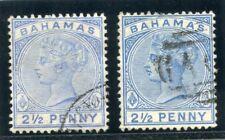 Bahamas 1884-88 QV 2 1/2 D ambos listados tonos muy bien usada. SG 50, 51.