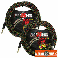 "2-Pack Pig Hog 1/4"" Rasta Stripes Guitar Instrument Cable Cord 20ft Right-Angle"