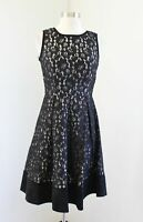 Calvin Klein Black Beige Nude Illusion Lace Fit and Flare Cocktail Dress Size 2