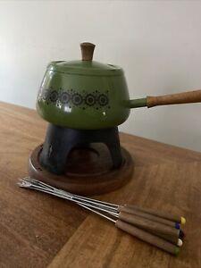 Vintage Fondue Pot Set - Avacado Green - 1970s - 6 Forks