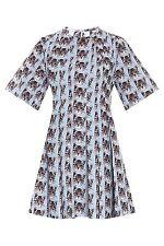 BNWT Cat Print Dress by Paul And Joe Retro 50s Style Light Blue 38 EU M Uk