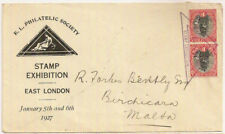 1927 SOUTH AFRICA EAST LONDON STAMP EXHIBITION ENV 2x1d TRIANGLE PMK->MALTA