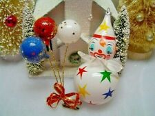 Vtg Italian Blown Glass Stars Clown Clip On Balloon Ornaments Italy VGC