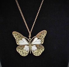 New Retro Ladies Gold and White Butterfly Pendant Long Chain Necklace