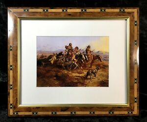 Charles M. Russell Western Painting Print Native American Indian Women Moving