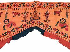 """Orange Embroidered Door Window Topper Ganesha Gate Vintage Huge Valance 77""""x58"""""""