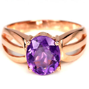 NATURAL AAA PURPLE AMETHYST 9X7 MM. OVAL STERLING 925 SILVER SOLITAIRE RING 8
