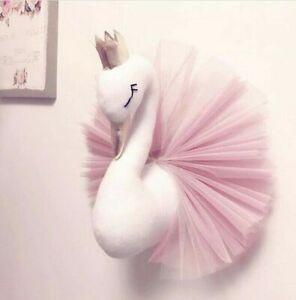 Swan Wall Hanging Crown Doll Stuffed Plush Toys Wall Mounted Kids Bedroom Decor