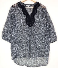 TARGET Womens Work Black & White Floral Sheer Top Lace 3/4 Sleeves Size 12 BNWT