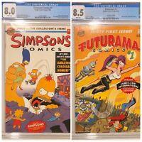 SIMPSONS #1 CGC 8.0 • FUTURAMA #1 CGC 8.5 Bongo Comic LOT Variant SDCC NYCC