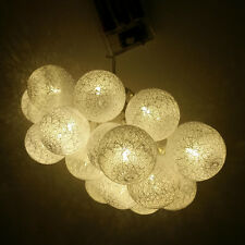 10/20LED Cotton Ball Fairy String Lights Holiday Wedding Party Christmas Decor