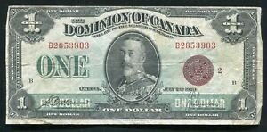 DC-25i 1923 $1 ONE DOLLAR DOMINION OF CANADA BRONZE SEAL MCCAVOUR/SAUNDERS VF