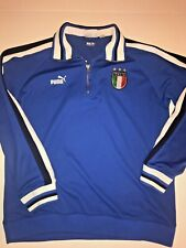 Puma Italia Italy Spell Out King Men Size XL Blue Pullover Track Jacket 1/4 Zip