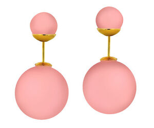 Silicone Double Pearl Shape Ladies Fashion Earrings w/ Yellow Gold Tone PushBack