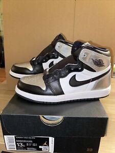 Nike Air Jordan 1 High OG Silver Toe Kids Pre School 13c 13 NEW CU0449-001