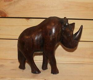 Vintage hand carving wood rhinoceros figurine