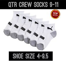 PUMA 6-PACK QTR CREW SOCKS CUSHIONED BOYS YOUNG MEN 9-11 SHOE SIZE 4-9.5 Wht/Gry