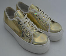 Ladies Schuh Light Gold Metalic Platform Trainers Shoes Size Uk 3