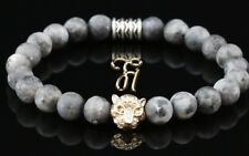 Larvikite Gris Mat 8mm Bracelet de Perles or Tête Tigre