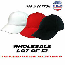 Wholesale Lot of 12 Baseball Cap in BLACK 100% Cotton + Free Shipping!