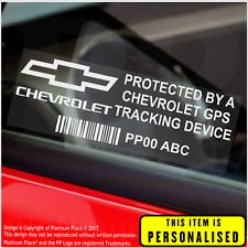 4 x Chevrolet PERSONALISED GPS Tracking Device-Security Stickers-Alarm-Tracker