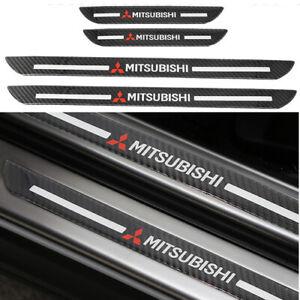 4x Mitsubishi Carbon Fiber Car Door Welcome Plate Sill Scuff Cover Panel Sticker