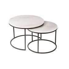 Set of 2 Real Marble Round Nesting Coffee Tables 60cm Black Modern Contemporary