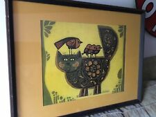 DAVID WEIDMAN  Mid Century Modern Artist.  LITHOGRAPH FRAMED Cat And Birds 1970s