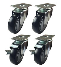 "4 Heavy Duty Caster Set 4"" Wheels 4 Swivel 2 with Brake Non Skid No Mark Casters"
