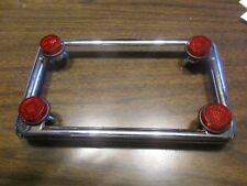 Motorcycle License Plate Frame with Red Reflectors Fasteners