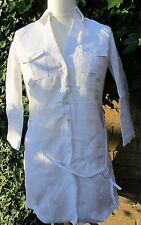 Marks & Spencer Ladies Pure 100% Linen White Dress With Belt Size 10 BNWT