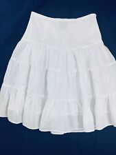Eyeshadow White Cotton Beaded Skirt Lined Size Small