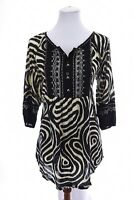 NWT Krista Lee Womens Beaded Embroidered Peasant Tunic Top Artsy Black Sz Small