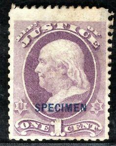 USA Official Stamp SPECIMEN *JUSTICE*1c Franklin 1873 Mint MNG ORANGE351