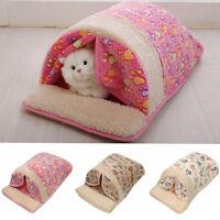 Pet Cat Dog Nest Bed Soft Cushion Warm Cave House Sleeping Bag Mat M L