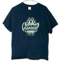 VTG Summit Racing Equipment Green and Black Flame Men's Large Gildan T-Shirt
