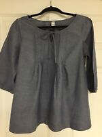 Old Navy Womens Shirt Solid Blue Gray 3/4 Sleeves Pleated Front Size M