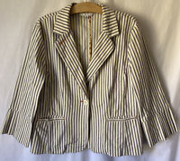 Cabi 1 Button Blazer Stripe Jacket Size 14 Style #793 Women's Cotton Stretch