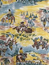 Vintage Western boys home decor fabric - cotton - horses Americana c. 1940s-50