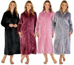 Ladies Slenderella Luxury Flannel Fleece Long Sleeve Zip Through Dressing Gown