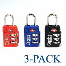 Ceptics Pack of 3 Travel Luggage 3 Digit Combination Padlocks TSA Approved Blac