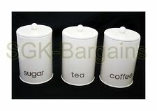 Cream Large 1.4L 3pc Carbon Steel Cannister Set -Tea Coffee Jars Canister Gift