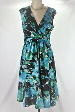 Jones Studio Dress Womens Size 6 High Waist Black Blue Green Floral Sleeveless