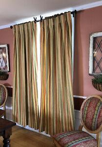 "Calico Corners Drapes Window Treatments Custom Pinch PleatStriped 48x83""  USA"