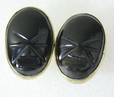 Vintage Mexico E. ORTIZ Signed Carved Black Onyx Gold Tone Metal Cufflinks
