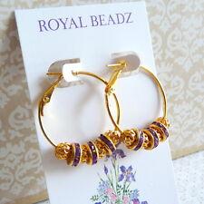 Bling Gold Hoop Earrings Purple Crystal Net Beads Basketball Wives Inspired